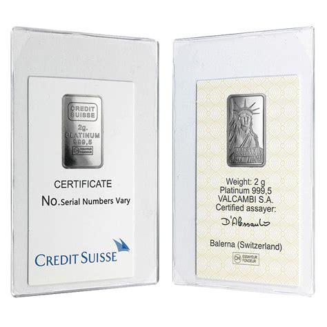 Credit Suisse 2 2 gram credit suisse statue of liberty platinum bar 9995 in assay ebay