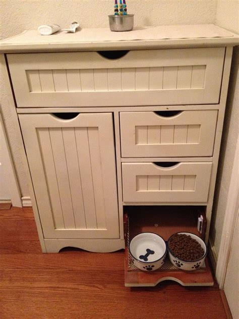 feeding station cabinet pet feeding and storage cabinet my hubby repurposed a