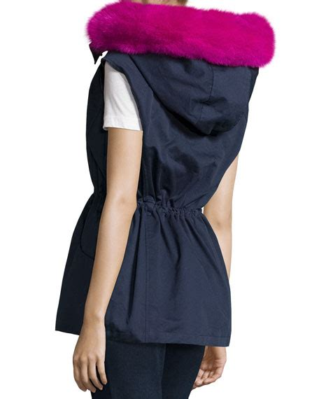 Ivora Drawstring Vest In Navy pologeorgis twill fur trim drawstring vest navy fuchsia