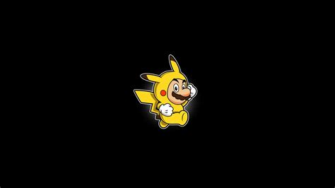 game wallpaper simple abstract black background mario minimalistic pikachu