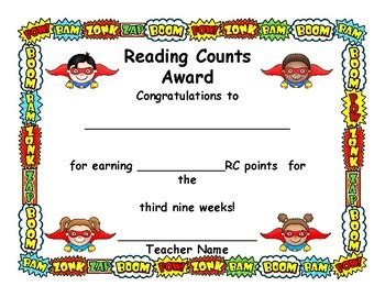 reading counts themes reading counts award certificate super cute super hero