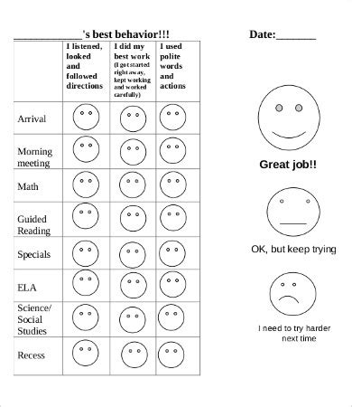 Free Printable Behavior Chart 8 Free Pdf Documents Download Free Premium Templates Free Behavior Chart Template