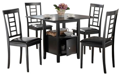 5 black finish wood square pedestal dining table set