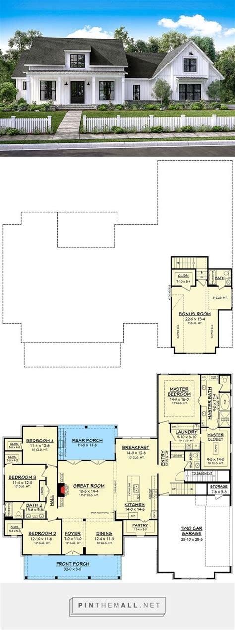 plan 51754hz modern farmhouse plan with bonus room the 25 best 5 car garage ideas on pinterest 4 bedroom
