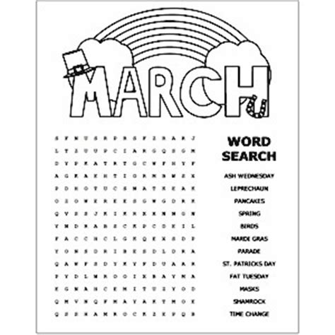 printable word searches for june printable march word search