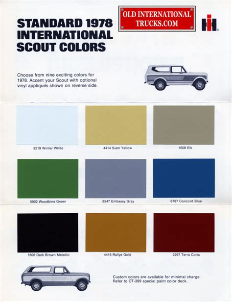 a href color colour charts international truck parts
