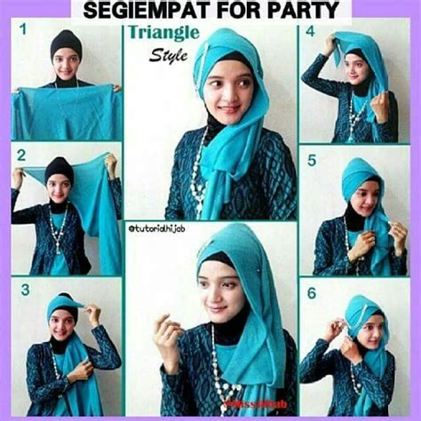 tutorial hijab segi 4 pesta tips cara memakai jilbab pesta simple modern cantik