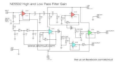 ne high   pass output filter circuit audio schematic audio amplifier powered