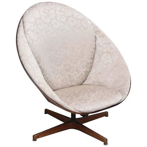 Rare Early Edition Plycraft Swivel Wooden Egg Chair 1950s Swivel Egg Chair