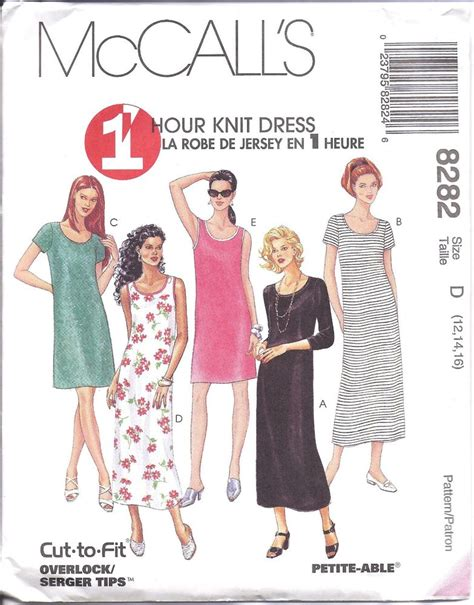 sewing pattern knit dress 8282 uncut vintage mccalls pattern misses 1 hour knit