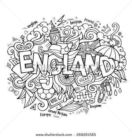 england hand lettering  doodles elements background