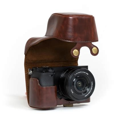 Leather A6000 megagear quot ready quot protective leather bag for sony alpha a6000