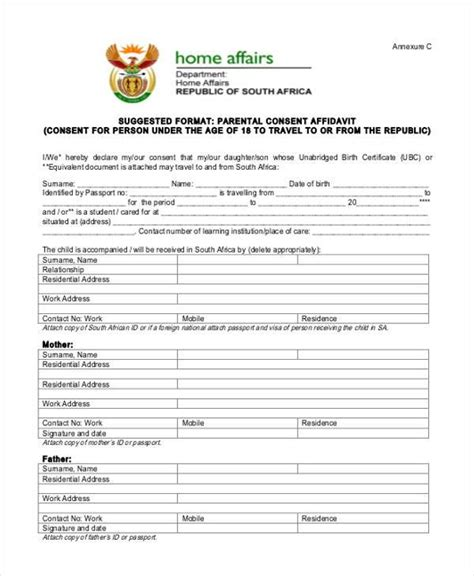 affidavit of parental consent form template affidavit form template