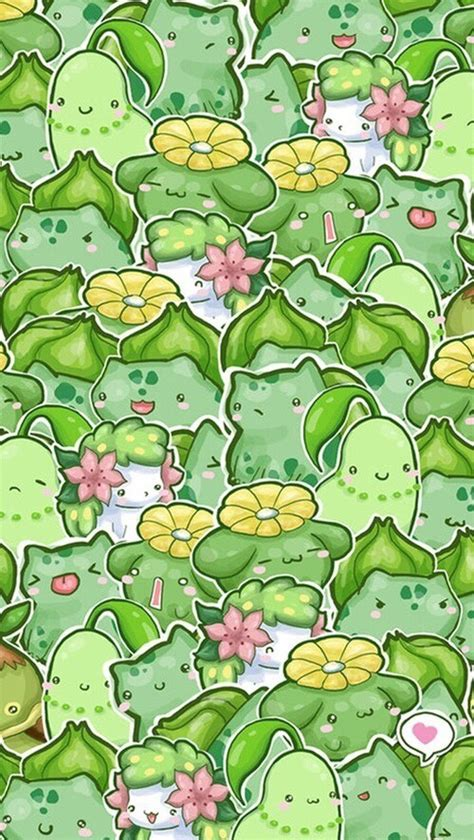 pokemon pattern iphone wallpaper background cute green kawaii pokemon very cute