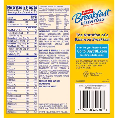 b protein nutrition facts carnation breakfast essentials nutrition facts mloovi