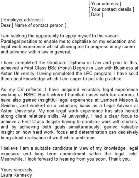 Paralegal Cover Letter Uk Paralegal Cover Letter Sle