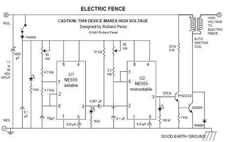 electric fence wiring diagram gt circuits gt electric fence 20kv pulses for perimeter