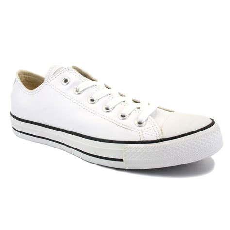 Convers White Ox converse all leather ox white black unisex trainers ebay