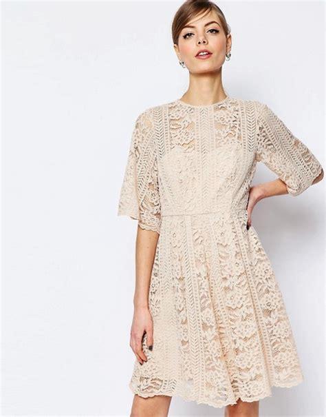 Premium Korea Sleeve Dress asos asos premium lace skater dress with sleeve