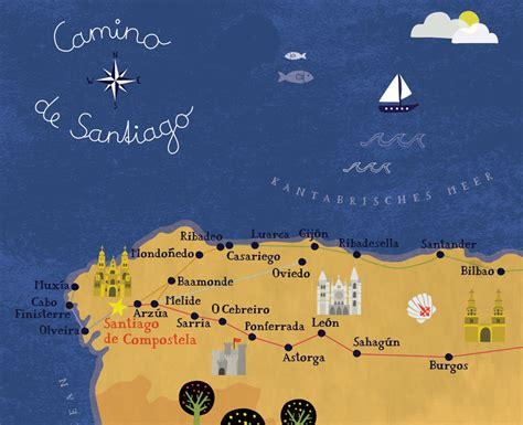 camino de compostela map camino de santiago2 biancatschaikner 02 png lovely