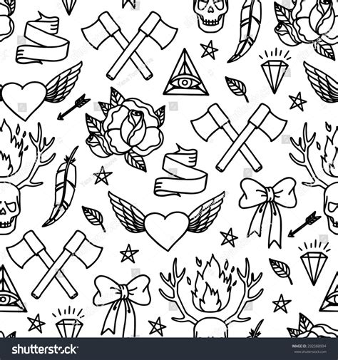 seamless pattern meaning seamless vector pattern doodle tattoo hipster stock vector
