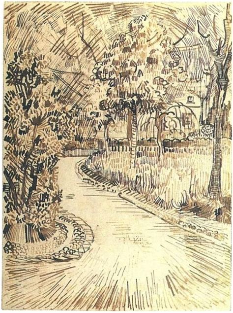Sketches Gogh by Vincentvangogh Garden With A Corner Of The