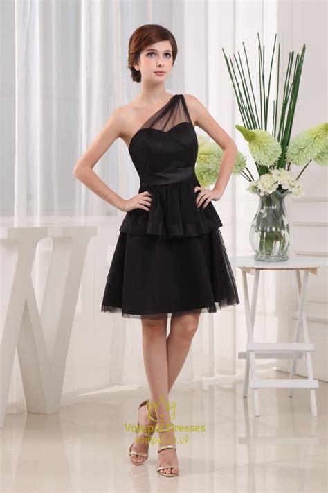 short  shoulder  black dress black tiered