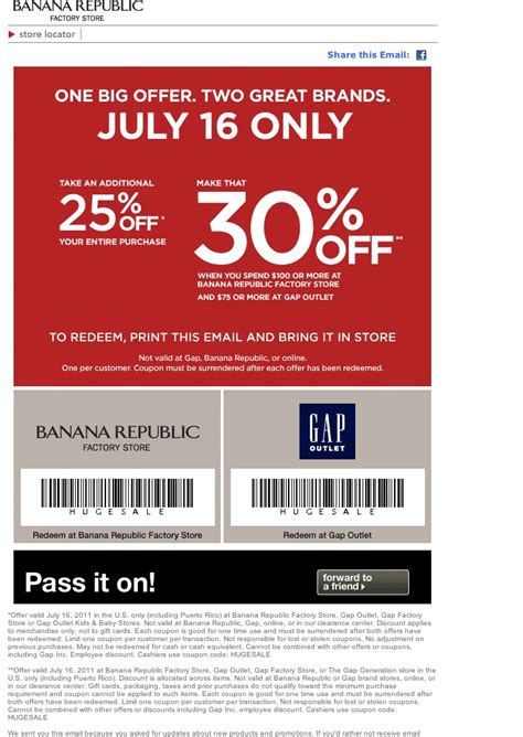 printable coupons gap outlet usa banana republic factory store gap outlet coupon july 16
