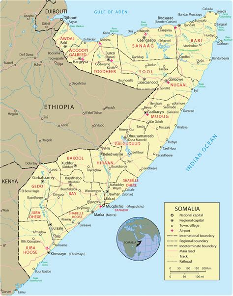 map of somalia a somalia africa