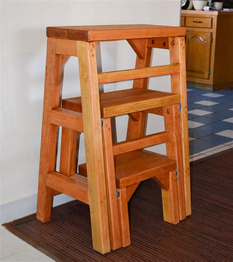 Wood 3 Step Folding Stool by Folding Three Step Wood Stool For Basic Household Use