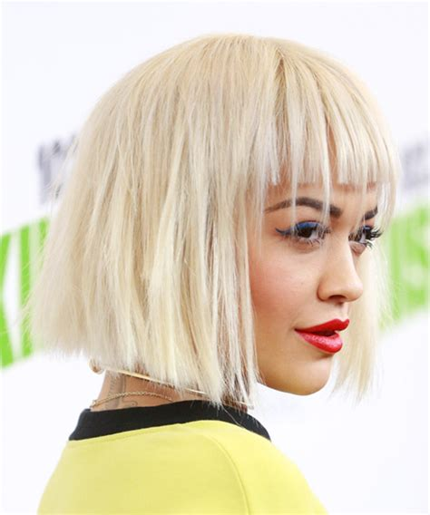 rita ora choppy hairstyles rita ora medium straight casual bob hairstyle with blunt