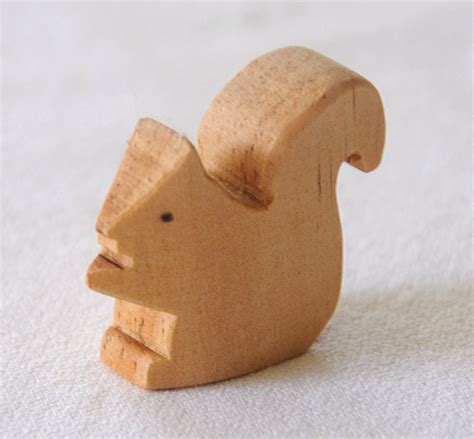 Handcrafted Wooden Animals - carved wooden squirrel handmade animal waldorf inspired