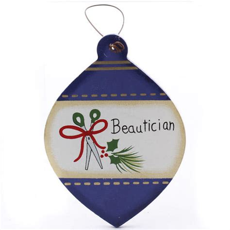 flat wood quot beautician quot christmas bulb ornament signs