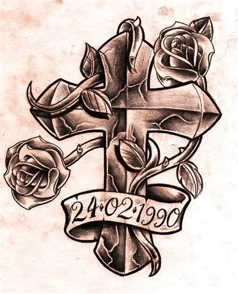 rose with banner tattoos memorial banner and cross with design