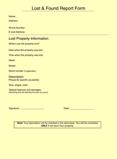Lost And Found Report Lost And Found Email Template