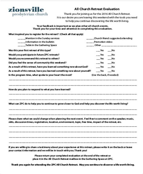 Sample Retreat Evaluation Form 9 Examples In Word Pdf