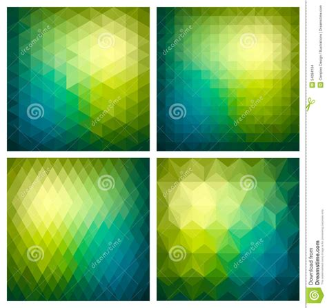 seamless pattern app abstract geometric green background set stock vector