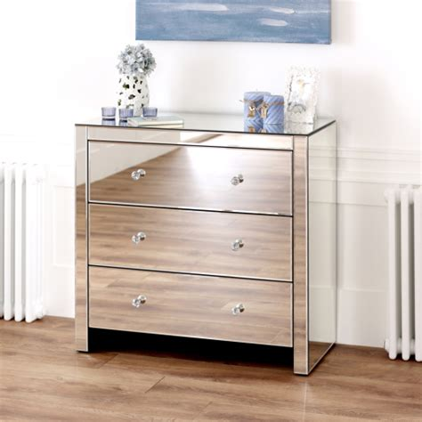 venetian mirrored bedroom furniture venetian mirrored glass compact 3 drawer chest bedroom furniture ven91 ebay