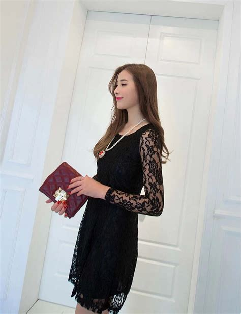 Dress Dress Korea Brukat Dress Brukat Hitam Black 2 dress brukat hitam terbaru model terbaru jual murah import kerja