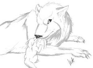 Easy Anime Drawings Of Wolf Cubs Sketch Coloring Page sketch template
