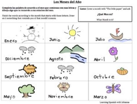 en el ano de los meses worksheet worksheet months of the year learning spanish with johanna
