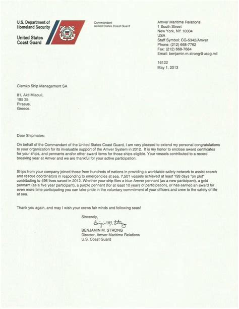 Sea Service Letter Uscg Recognitions Clemko Ship Management S A