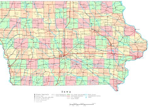 iowa state map iowa printable map