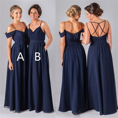 navy long bridesmaid dresses chiffon bridesmaid
