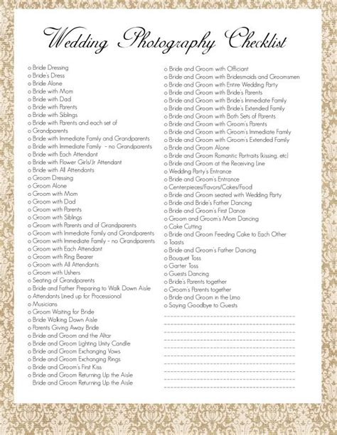 wedding photography list template wedding photography checklist i wouldn t use all of these