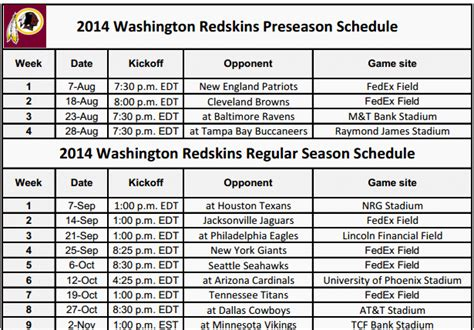 printable washington redskins schedule 2014