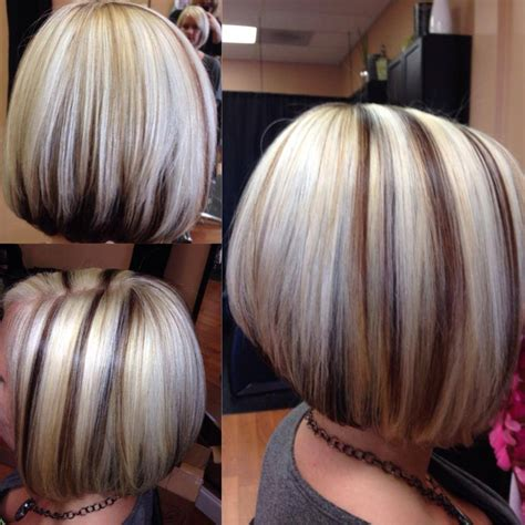 hairstyles blonde dark underneathe bob brown hair chunky blonde highlights ladies haircuts