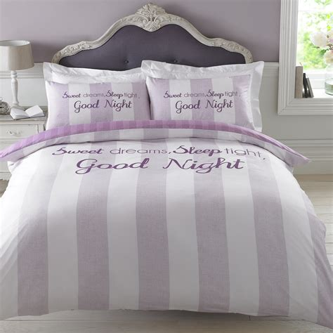 Bedding Set New Duvet Cover With Pillowcase Bedding Set Sweet Dreams Sleep Tight Grey Lilac Ebay