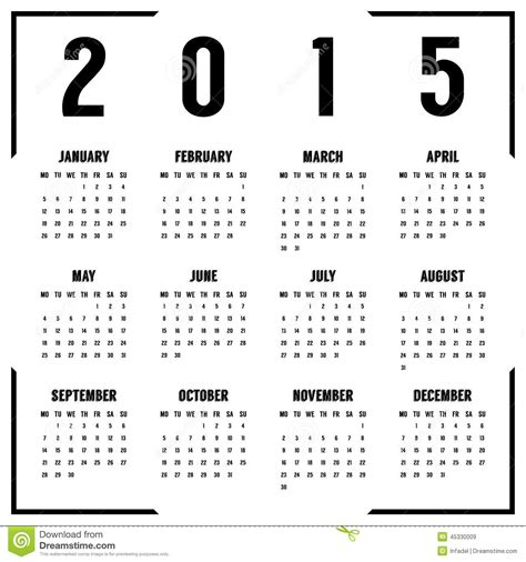 printable monthly calendar 2015 black and white european black and white 2015 year calendar stock vector