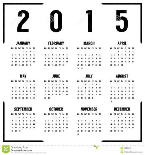 printable calendar 2015 black and white european black and white 2015 year calendar stock vector